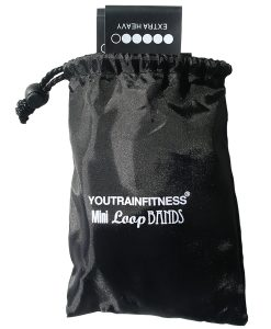 Black Bag with 5 Extra Heavy Resistance Mini Loop Bands