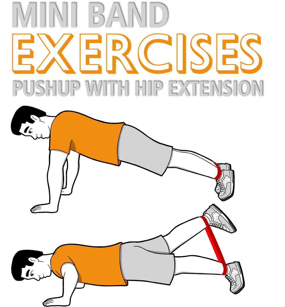 Mini Band Pushup with Hip Extension