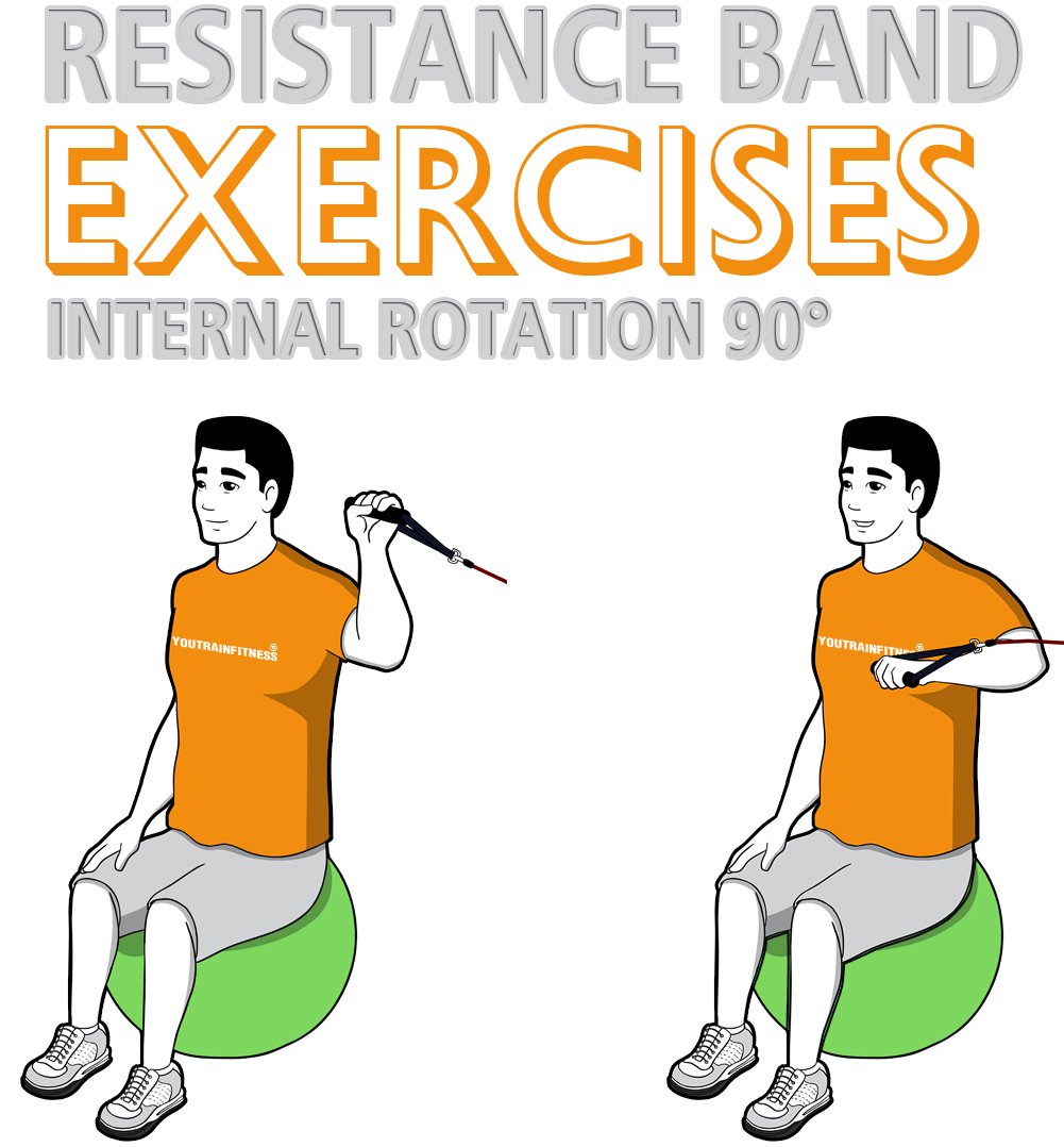 Resistance Band Stability Ball Shoulder Internal Rotation at 90° Abduction